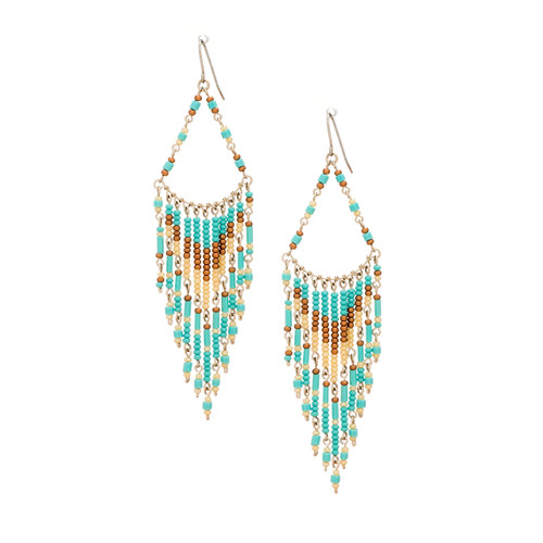 Handmade boho Native American Czech glass bead Southwest festival tribal beaded earrings / KPE B210-2