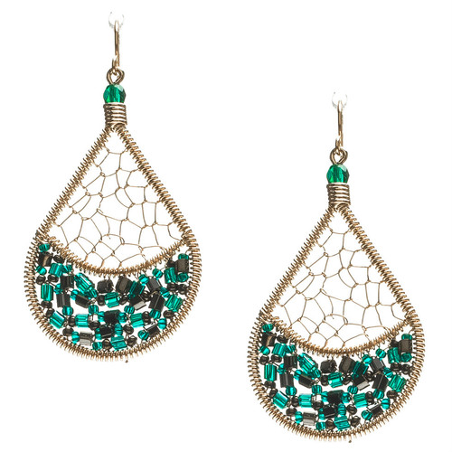 Handmade boho Beading  Czech Crystals, Seed Beads, bugle beads, Gold plated Teardrop Bohemian Earrings / RQE G B72-D73