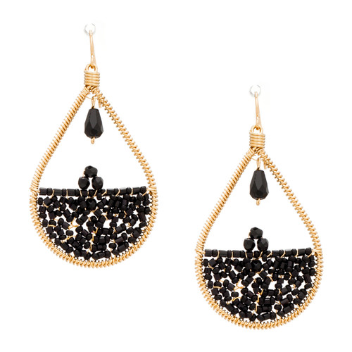 Handmade Bohemian Beaded Gold Plated Chandelier Earrings / RQE G B2-14
