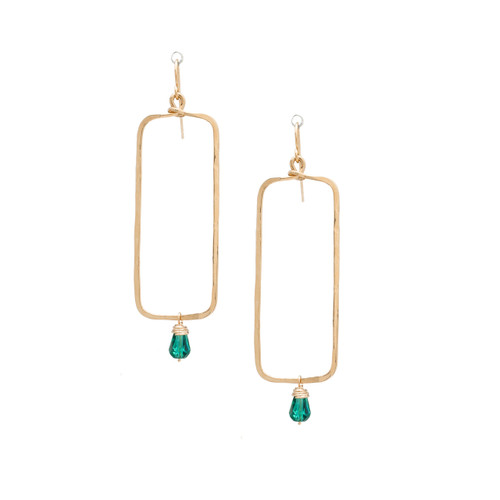 Hammered Geometric Minimalist Gold Plated Bohemian Rectangle Seed Bead Bohemian Earrings / GAE G B254-25