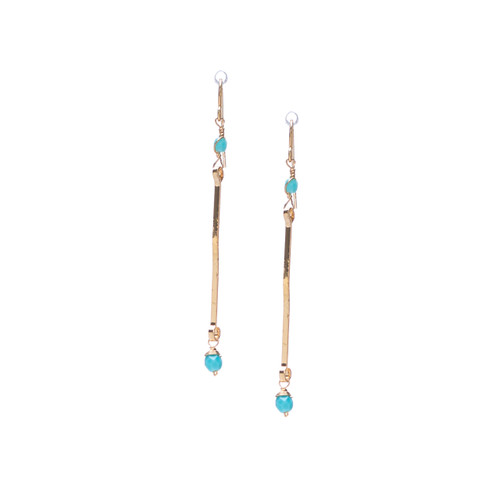 Hammered bohemian Gold Bar Drop Earrings, handmade / GAE G B148-1