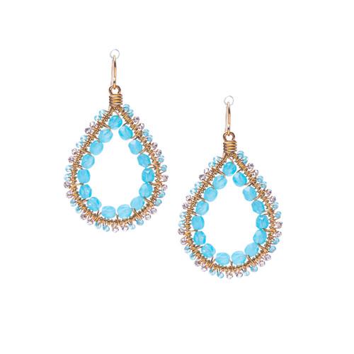 Handmade Bohemian Beaded Gold Plated Teardrop Earrings in Carribean blue / RQE G B17-D54