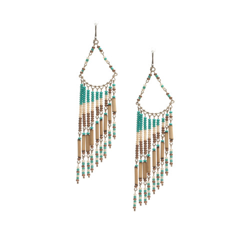Handmade Beaded Boho Tribal  Wire Wrap Czech Glass Seed Beads Bamboo Earrings / LME B9-4