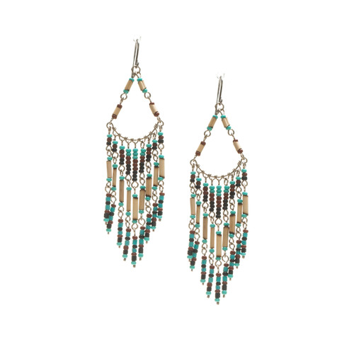 Handmade Beaded Boho Tribal  Wire Wrap Czech Glass Seed Beads Bamboo Earrings / LME B1-2