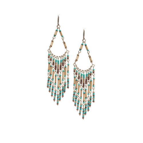 Handmade Beaded Boho Tribal  Wire Wrap Czech Glass Seed Beads Bamboo Earrings / LME B1-5
