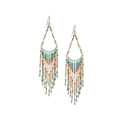 Handmade Beaded Boho Tribal  Wire Wrap Czech Glass Seed Beads Bamboo Earrings / LME B2-4