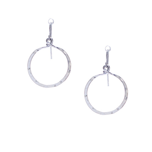 (Extra Small) Handmade Hammered Geometric Minimalist Silver Earrings / GAE S B8-0