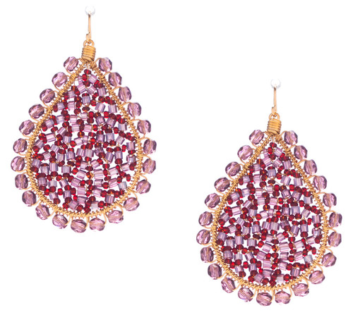 Handmade Bohemian Gold Seed Beads and Bugle Beads Teardrop Earrings in Enchanting Mix / RQE G B44-D4