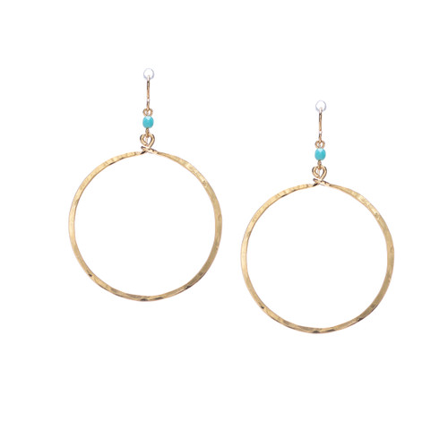 Hammered Boho, Bohemian, Geometric Minimalist Gold Bohemian Earrings / GAE G B87-1