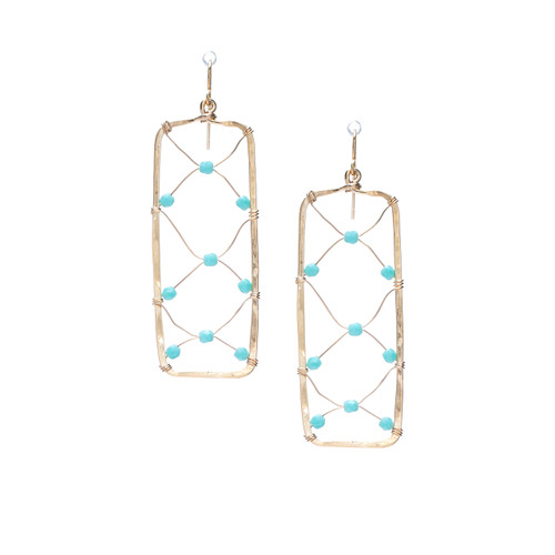 Hammered Boho, Bohemian, Geometric Minimalist Gold Bohemian Earrings / GAE G B196-1