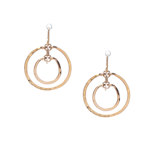Hammered Boho, Bohemian, Geometric Minimalist Gold Bohemian Earrings / GAE G B5-0