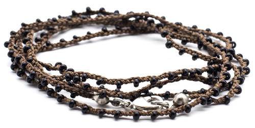 "32"" braided chestnut brown silk thread necklace with black seed beads and silver plated clasp"