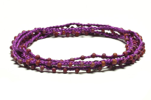 "32"" braided bright silk purple thread necklace with matte dark blue seed beads and silver plated clasp"