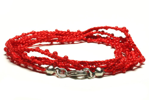 "32"" braided red silk thread necklace with red seed beads and silver plated clasp"