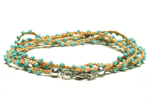 "32"" braided gold silk thread necklace with turquoise seed beads and silver plated clasp"