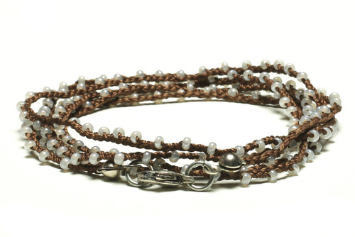 "32"" braided chestnut brown silk thread necklace with transluscent pearl seed beads and silver plated clasp"