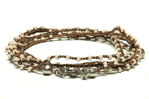 "32"" braided chestnut brown silk thread necklace with pearl seed beads and silver plated clasp"