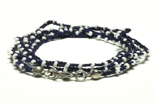 "32"" braided navy blue silk thread necklace with milky white seed beads and silver plated clasp"