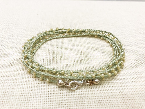 Dainty Boho Crochet Czech Seed Bead Silk Thread Necklace / Wrap Bracelet in Pale Green / GAN S B102-52
