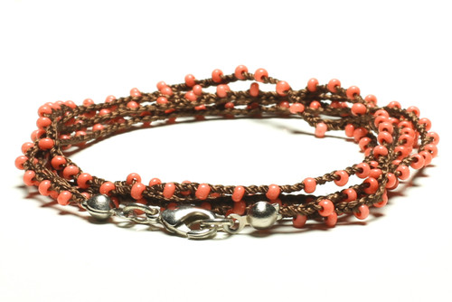 "16"" braided chestnut brown silk thread necklace with coral seed beads and silver plated clasp"