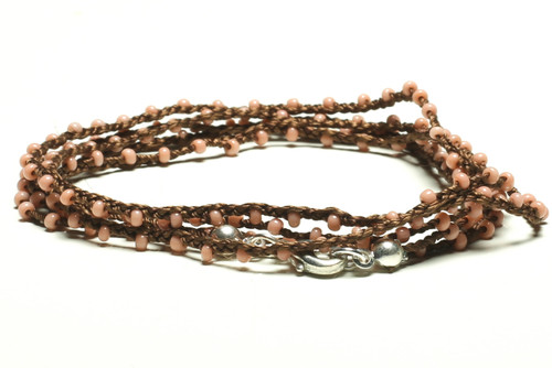 "32"" braided chestnut brown silk thread necklace with rose seed beads and silver plated clasp"
