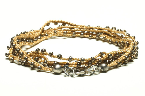 """32"""" braided gold silk thread necklace with silver seed beads and silver plated clasp"""