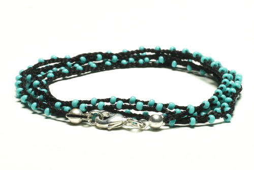 "32"" braided black silk thread necklace with turquoise seed beads and silver plated clasp"
