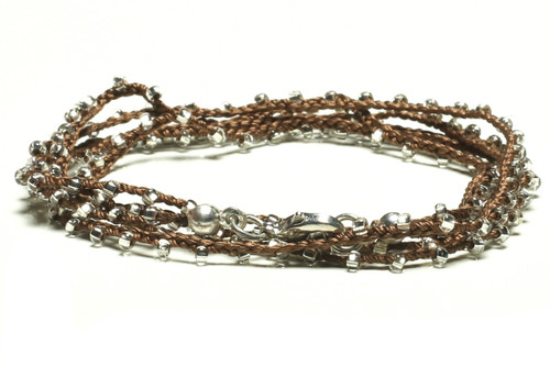 "32"" braided chestnut brown silk thread necklace with clear seed beads and silver plated clasp"