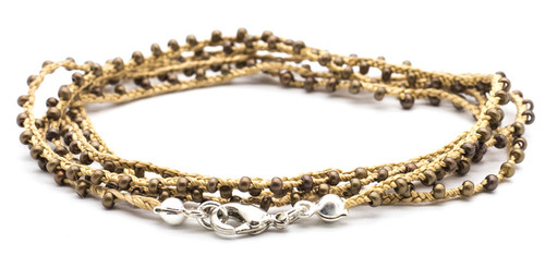 "32"" braided gold silk thread necklace with bronze seed beads and silver plated clasp"