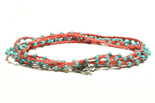 "32"" braided coral silk thread necklace with turquoise seed beads and silver plated clasp"