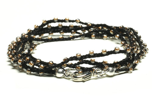 "32"" braided black silk thread necklace with clear seed beads and silver plated clasp"