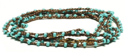 "32"" braided chestnut brown silk thread necklace with turquoise seed beads and gold plated clasp"