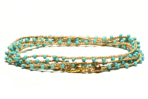 "32"" braided gold silk thread necklace with turquoise seed beads and gold plated clasp"