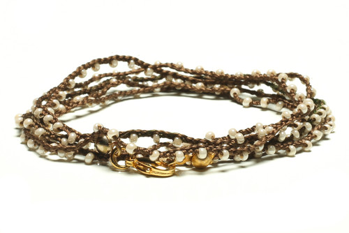 "32"" braided chestnut brown silk thread necklace with pearl seed beads and gold plated clasp"