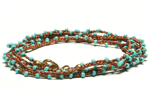 "32"" braided cognac brown silk thread necklace with turquoise seed beads and gold plated clasp"