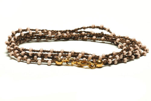 "32"" braided chestnut brown silk thread necklace with rose seed beads and gold plated clasp"
