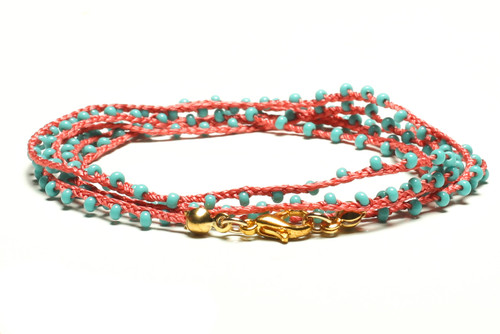 "32"" braided coral silk thread necklace with turquoise seed beads and gold plated clasp"
