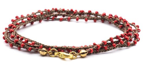 "32"" braided chestnut brown silk thread necklace with red seed beads and gold plated clasp"
