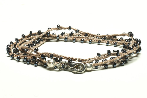"32"" braided grey silk thread necklace with dark bronze seed beads and silver plated clasp"