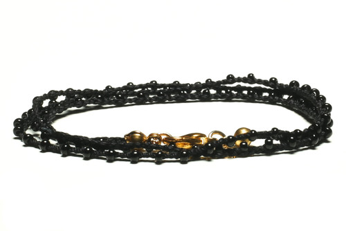 "16"" braided black silk thread necklace with black seed beads and gold plated clasp"