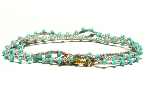 "16"" braided steel grey silk thread necklace with turquoise seed beads and gold plated clasp"