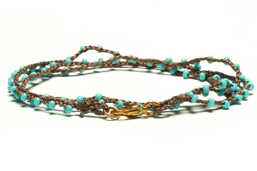"16"" braided chestnut brown silk thread necklace with turquoise seed beads and gold plated clasp"