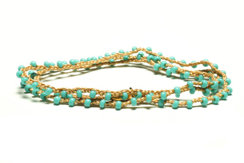 "16"" braided gold silk thread necklace with turquoise seed beads and gold plated clasp"