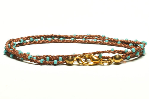"16"" braided cognac brown silk thread necklace with turquoise seed beads and gold plated clasp"