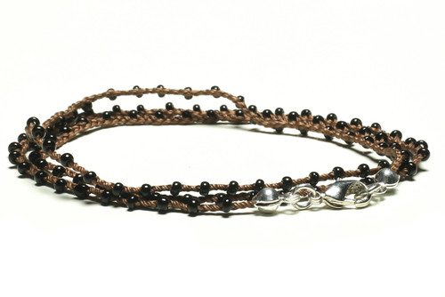 "16"" braided chestnut brown silk thread necklace with black seed beads and silver plated clasp"