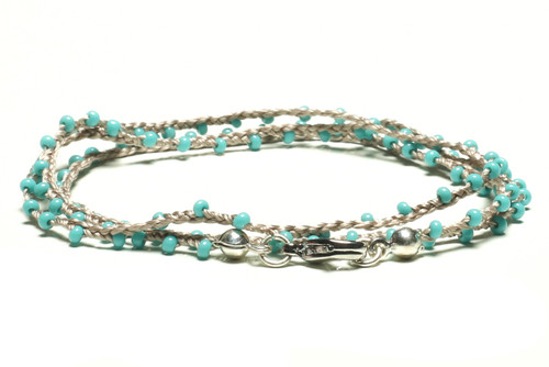 "16"" braided grey blue silk thread necklace with turquoise seed beads and silver plated clasp"