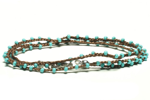 "16"" braided chestnut brown silk thread necklace with turquoise seed beads and silver plated clasp"