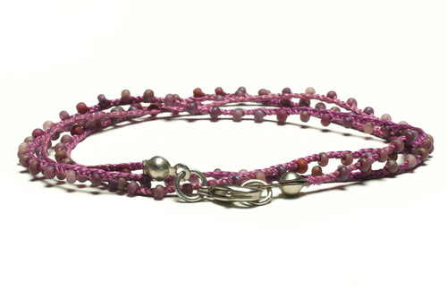 "16"" braided purple silk thread necklace with matte purple seed beads and silver plated clasp"