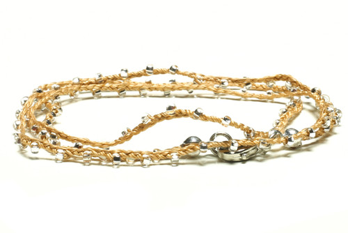 "16"" braided gold silk thread necklace with clear seed beads and silver plated clasp"