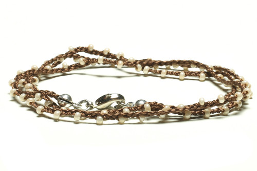 "16"" braided brown silk thread necklace with pearl seed beads and silver plated clasp"